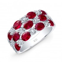 NATURAL COLOR WHITE GOLD FASHION RUBY CHECKERS DIAMOND RING