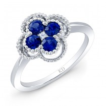 WHITE GOLD NATURAL COLOR FASHION SAPPHIRE FLOWER DIAMOND RING