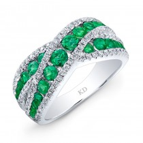 WHITE GOLD NATURAL COLOR FASHION EMERALD DIAMOND RING