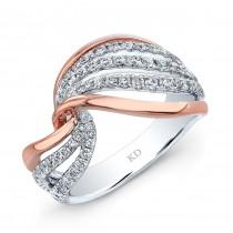 WHITE AND ROSE GOLD FASHION SWIRLED DIAMOND RING