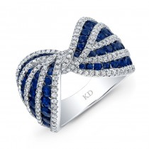 NATURAL COLOR WHITE GOLD INSPIRED SAPPHIRE BOW TIE DIAMOND RING