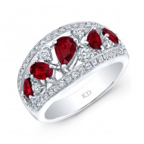 WHITE GOLD NATURAL COLOR CONTEMPORARY RUBY DIAMOND RING