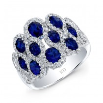 WHITE GOLD NATURAL COLOR INSPIRED STYLISH SAPPHIRE DIAMOND RING