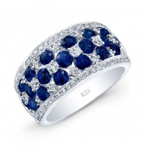 WHITE GOLD NATURAL COLOR ROUND SAPPHIRE CHECKERS DIAMOND RING