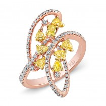 ROSE GOLD NATURAL YELLOW SWIRL FASHION RING