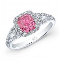 WHITE GOLD PINK ENHANCED RADIANT DIAMOND BRIDAL HALO RING
