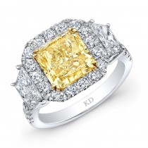 WHITE AND YELLOW GOLD FANCY YELLOW RADIANT DIAMOND ENGAGEMENT RING