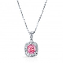 WHITE GOLD CLASSIC PINK ENHANCED CUSHION DIAMOND PENDANT