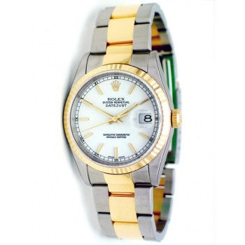 36mm Rolex Datejust  White Dial 16233.
