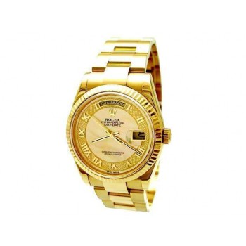 36mm Rolex 18k Yellow Gold Daydate Champagne Mother of Pearl 118238.