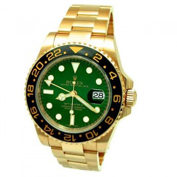 40mm  Rolex 18k Yellow Gold GMT-Master II Green 116718.