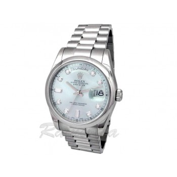 36mm Rolex Platinum Daydate Glacier Blue Diamond 118206