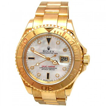 40mm Rolex 18k Gold Yachtmaster Mother of Pearl 16628.