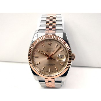 36mm Rolex 18k Rose Gold & Stainless Steel Datejust Style 116231