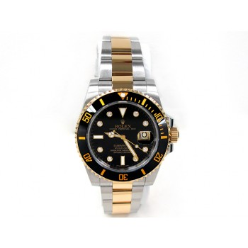 Men's Rolex Two Tone Submariner Ceramic  Diamond Dial 116613