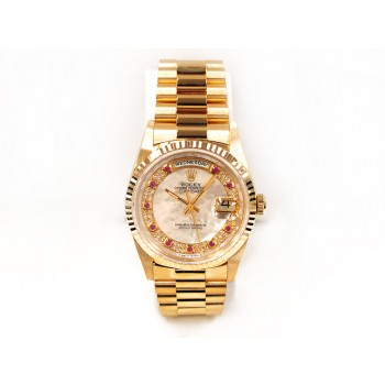 36mm  Rolex 18k Yellow Gold  Daydate  Mother of Pearl String Ruby & Diamond Dial 18238.