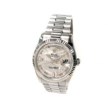 36mm Rolex 18K White Gold Daydate  Meteorite Arabic Diamond Dial 118239.