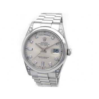 Men's Rolex Platinum Daydate  Silver 8+ 2 Diamond 118296.
