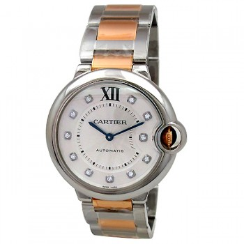 Unisex Cartier 18K Rose Gold & Stainless Steel Ballon Bleu  Diamond Dial WE902031.