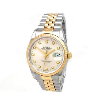 36mm Rolex Two-Tone  Datejust  Silver Diamond  16233.