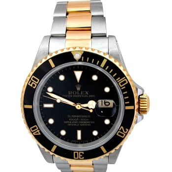 40mm Rolex Two-Tone Submariner Watch 16613