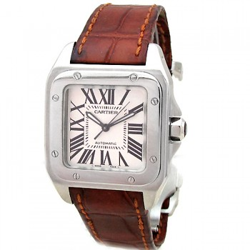 Midsize Cartier Stainless Steel Santos 100  W20106X8