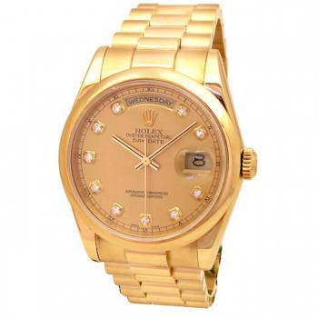 36mm Rolex 18k Yellow Gold Daydate Champagne Diamond 118208