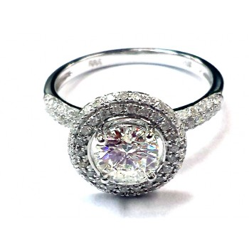 Ladies White Gold Ring with 1.00ct Round Brilliant Diamond in center and 94 round diamonds on side