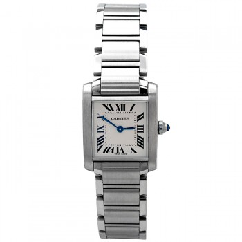 Small Cartier Stainless Steel Tank Francaise W51008Q3
