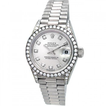 26mm Rolex 18k White Gold President Datejust Crown Collection 79159.