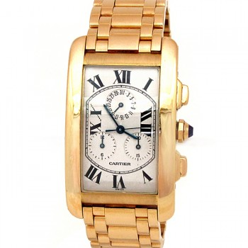 45mm Cartier 18k Gold Tank Americane Chronograph W2601156.