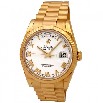 36mm Rolex 18k Yellow Gold Daydate White Roman 118238.