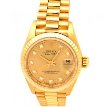 26mm Rolex 18k Gold President Datejust Diamond Dial 69178.