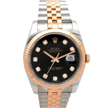 36mm Rolex 18k Rose Gold and Stainless Steel Diamond Dial 116231.