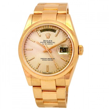 36mm Rolex 18k Yellow Gold Daydate Champagne Tapestry 118208.