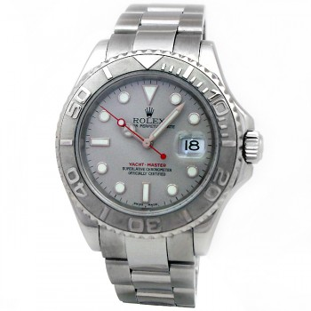 40mm Rolex Stainless Yachtmaster Platinum Dial 16622.