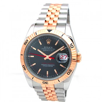 36mm Rolex 18k Rose Gold & Stainless Datejust Turn-o-graph 116261