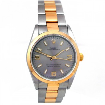 34mm Rolex Two-Tone Oyster Perpetual Rhodium Dial 14203.