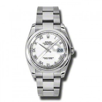 36mm Rolex  Steel Datejust White Roman Numeral 116200.