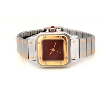 Lady's Cartier 18k Gold & Stainless Steel Santos Galbee Watch