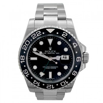 40mm  Rolex Stainless  GMT-Master II Ceramic Bezel 116710.