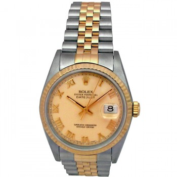 36mm Rolex Two-Tone Datejust Ivory Roman Numeral 16233.