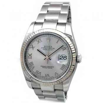 36mm Rolex Stainless Datejust Rhodium Dial Oyster 116234.