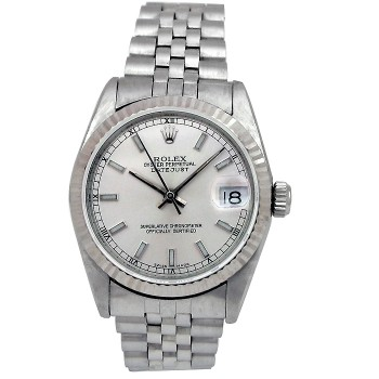 31mm Rolex Stainless Datejust Watch Silver Dial 68274.