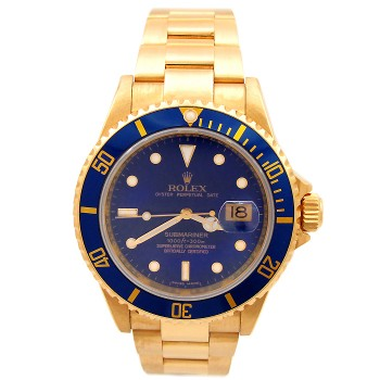 40mm Rolex 18K Yellow Gold Submariner 16618.