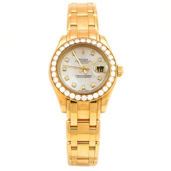 29mm Rolex 18k Yellow Gold Pearl Master Datejust MOP Diamond Dial 80298.