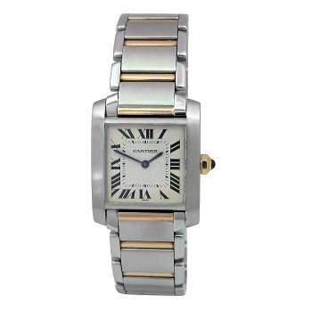 Midsize Cartier 18k Gold & Stainless Steel Tank Francaise Watch. W2TA0003