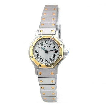 25mm Cartier 18K Yellow Gold and Stainless Steel Santos Octagon Watch.