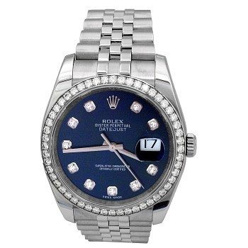 36mm Rolex Stainless Steel Datejust Watch with Diamond Dial and Diamond Bezel 116244.