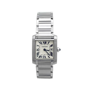 Midsize Cartier Stainless Steel Tank Francaise Watch W51011Q3